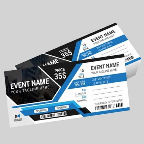 Event tickets with optional perforation and numbering